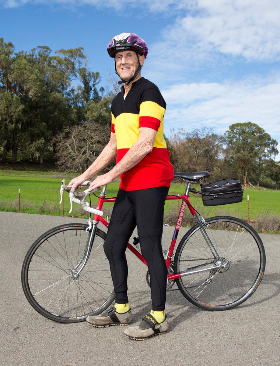 San Rafael active senior citizen bicycle rider portrait