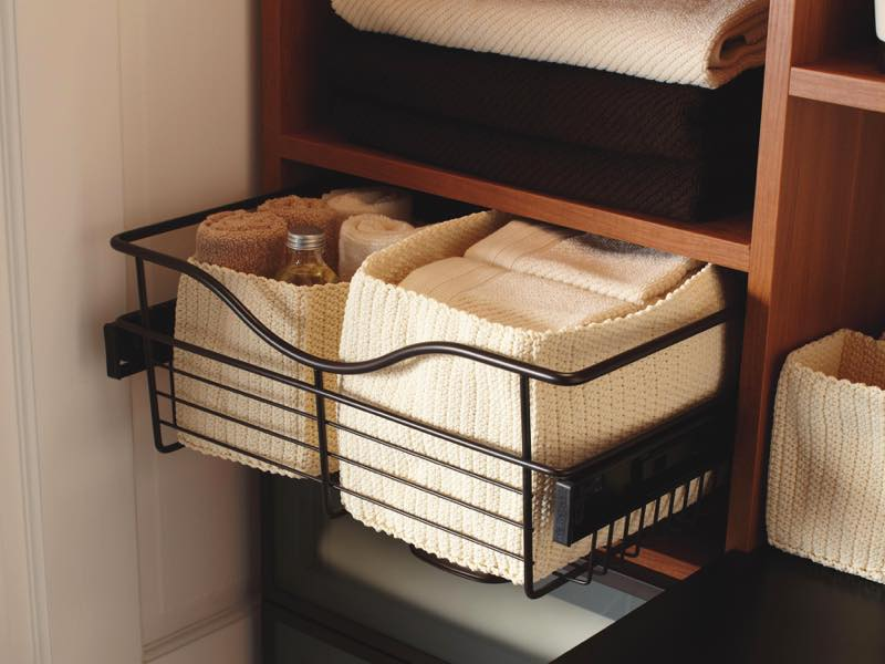 Custom accessory baskets in Linen Closet. Product photography by Chris Constantine Photography, San Rafael, CA.